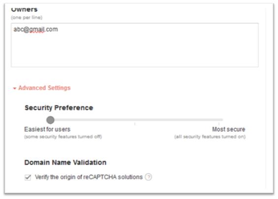 reCAPTCHA - security preferences