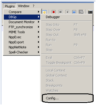 Configure DBGP