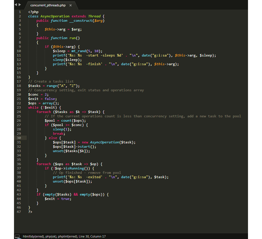 Multithreading in PHP with the pThreads extension