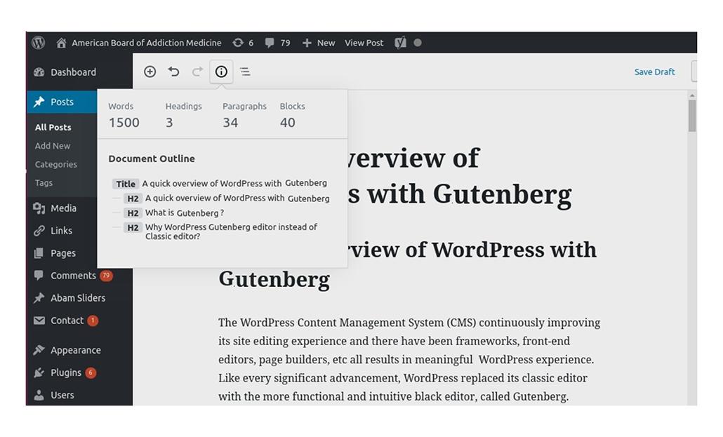 Information box of Gutenberg