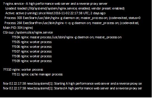 output of server status