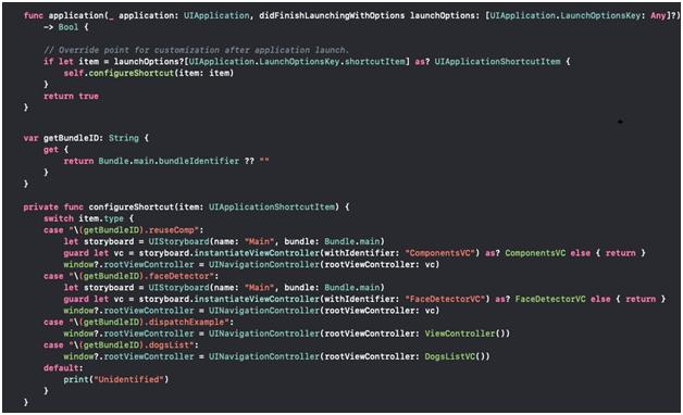 Quick Action handler in AppDelegate file