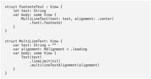 code sample for view composition
