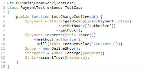 PHPUnit test case